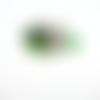 Bague réglable argentée et sequins vert avec bouton arbre de vie