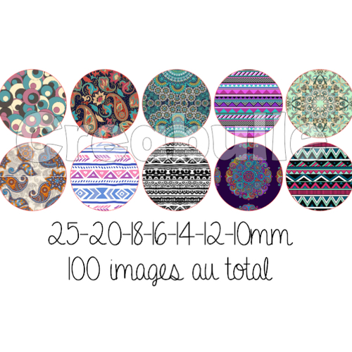 100 images digital numérique toutes taille éthnique pour scrap, bijou ou même couture sur flex imprimable