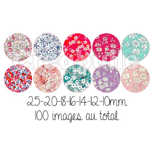100 images digital numérique toutes taille style fleur liberty pour scrap, bijou ou même couture sur flex imprimable