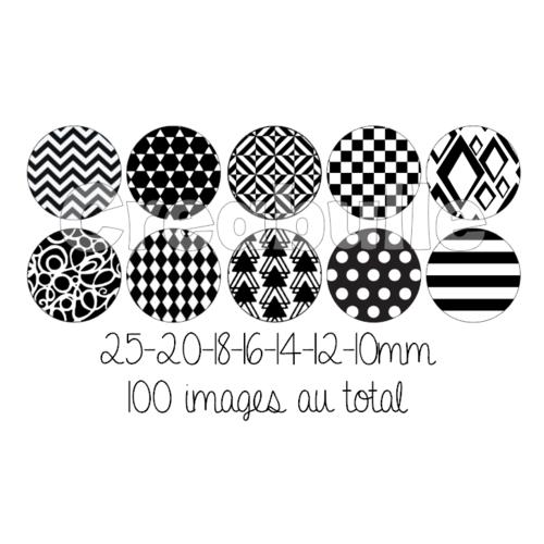 100 images digital numérique toutes taille noir et blanc geomatrique pour scrap, bijou ou même couture sur flex imprimable