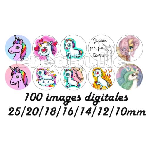 100 images digital numérique toutes taille licorne pour scrap, bijou ou même couture sur flex imprimable