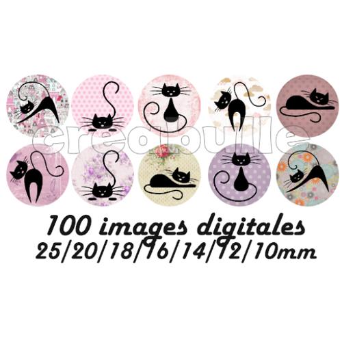 100 images digital numérique toutes taille chat 1 pour scrap, bijou ou même couture sur flex imprimable