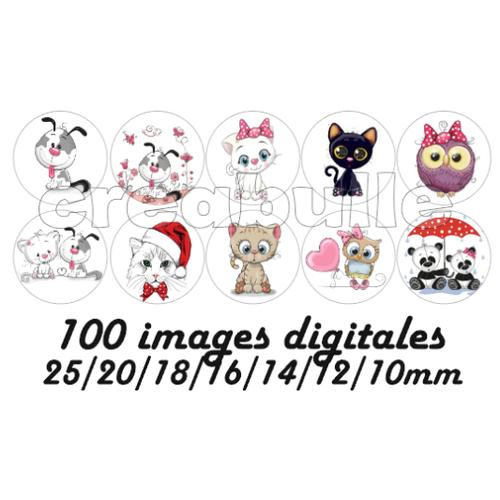 100 images digital numérique toutes taille animaux mignon chat chien panda... pour scrap, bijou ou même couture sur flex imprimable