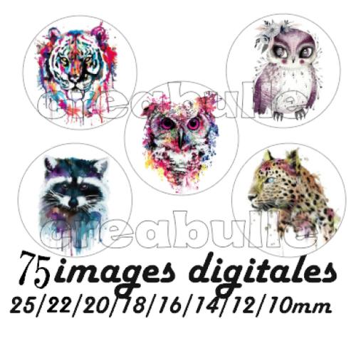 75 images digital numérique toutes taille animaux peinture pour scrap, bijou ou même couture sur flex imprimable