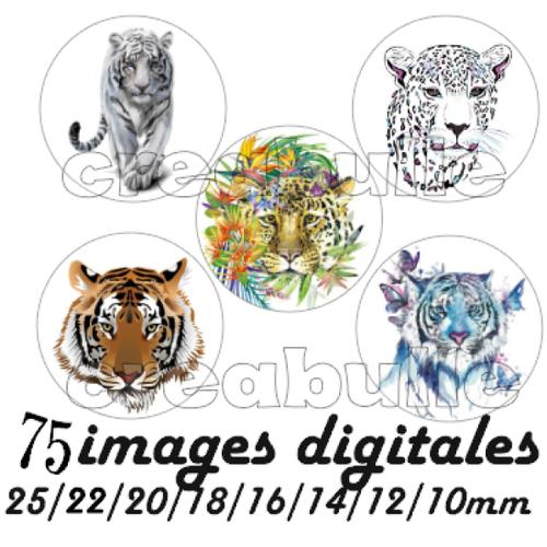 75 images digital numérique toutes taille tigre léopard pour scrap, bijou ou même couture sur flex imprimable