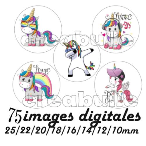75 images digital numérique toutes taille licorne cool pour scrap, bijou ou même couture sur flex imprimable