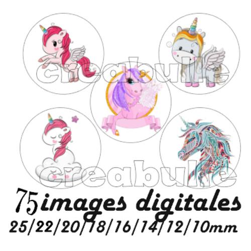 75 images digital numérique toutes taille licorne 2 pour scrap, bijou ou même couture sur flex imprimable