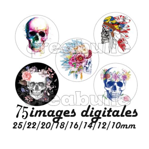 75 images digital numérique toutes taille tête de mort pour scrap, bijou ou même couture sur flex imprimable