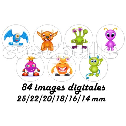 84 images digital numérique toutes taille petits monstres pour scrap, bijou ou même couture sur flex imprimable