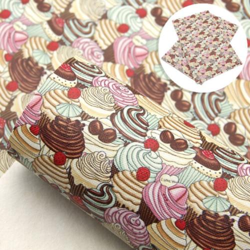 Coupon feuille de simili cuir imprimé cupcake 20x33,5cm