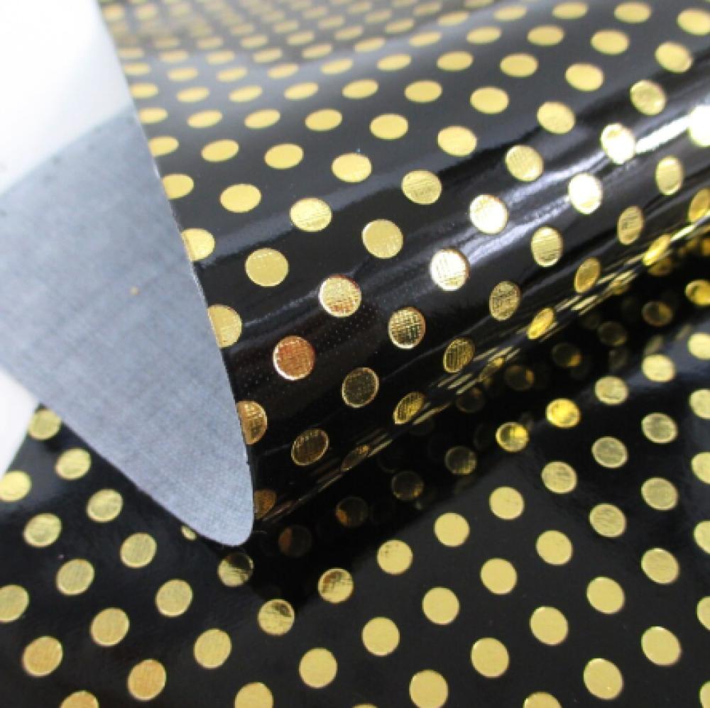coupon feuille de simili cuir 20x33,5cm vernis dorée noir brillant à poid