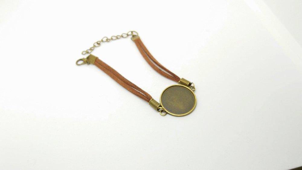 SUPPORT bracelet cordon REGLABLE avec chainette POUR CABOCHON (20mm) OU FIMO, résine, dome...