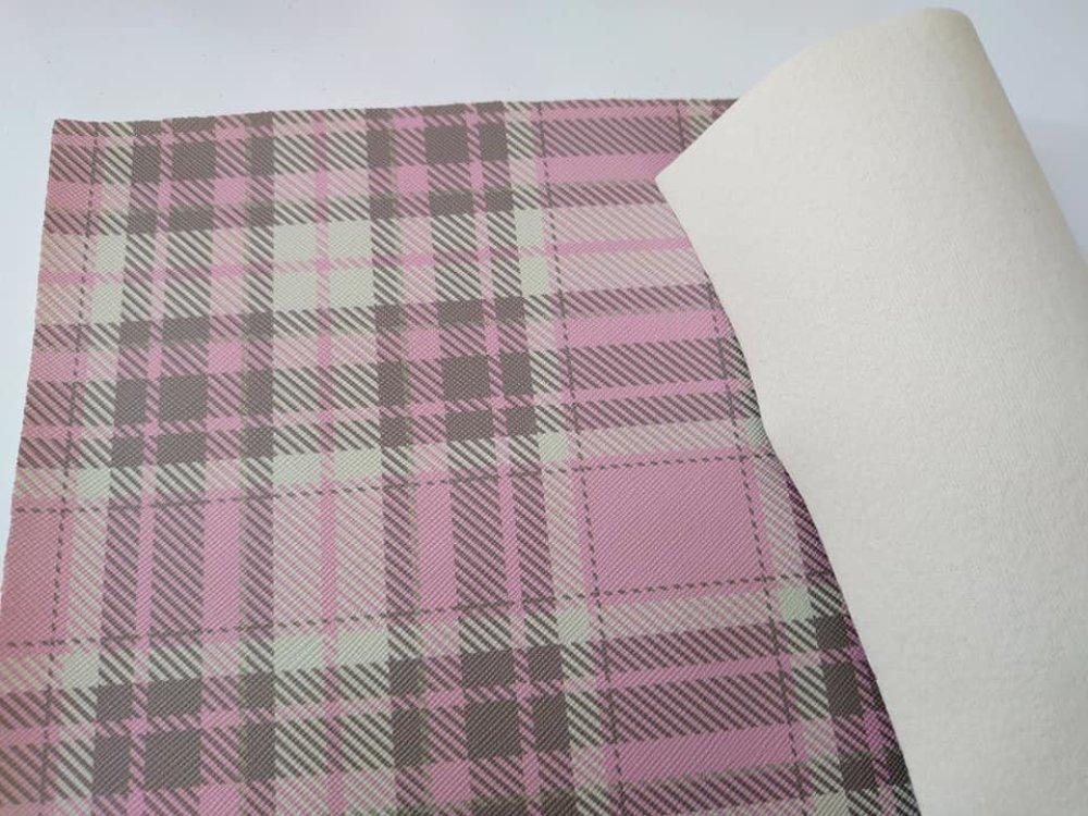 coupon feuille tartan rose gris de simili cuir 21x14,5cm passe dans la plupart des machine à coudre
