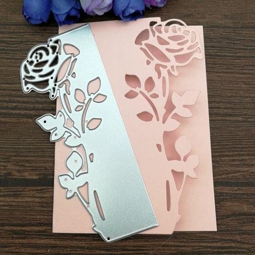 Die cut metallique fleur rose carte fond pour toutes machines de decoupe perforatrice pochoir matrice