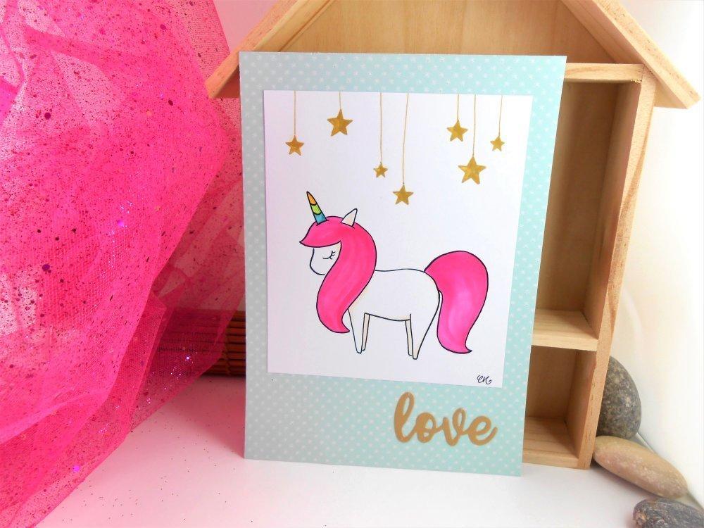 Affiche licorne, dessin feutre et peinture format A5