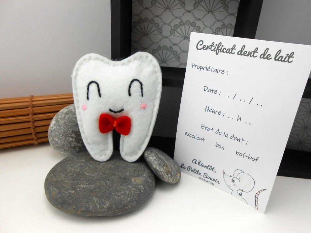 Pochette à dent de lait avec certificat, feutrine, souriant et noeud rouge