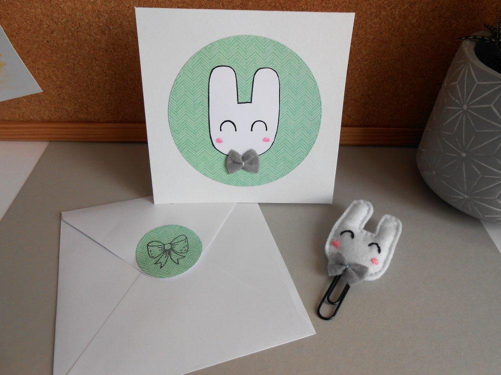 Set : marque page + carte + enveloppe. Lapin. Papier et feutrine