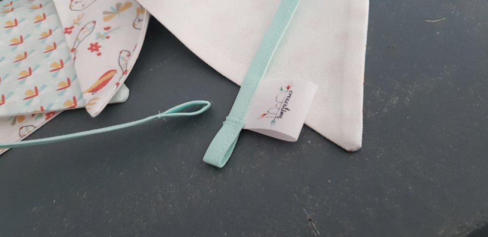 Guirlande 5 fanions, tissu lapin et oiseau