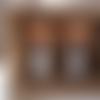 Boucles d'oreille, simili cuir, métal argenté, demi lune et pompons, doré, marron et blanc