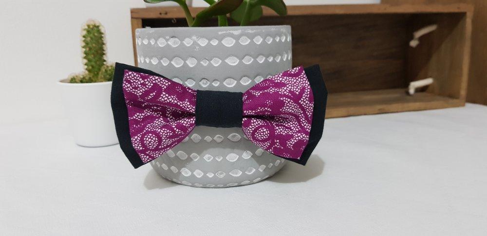 Nœud papillon réglable, blanc, violet et noir