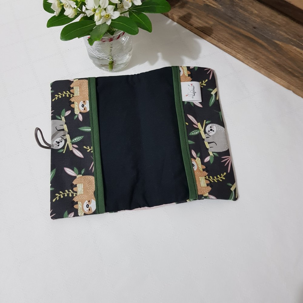 Porte chéquier en tissu et simili cuir, paresseux et rose poudrée
