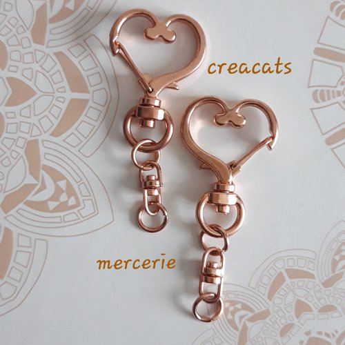 .. 3cm 2 Anneaux Port clef coeur Bronze 30mm Creation porte cle