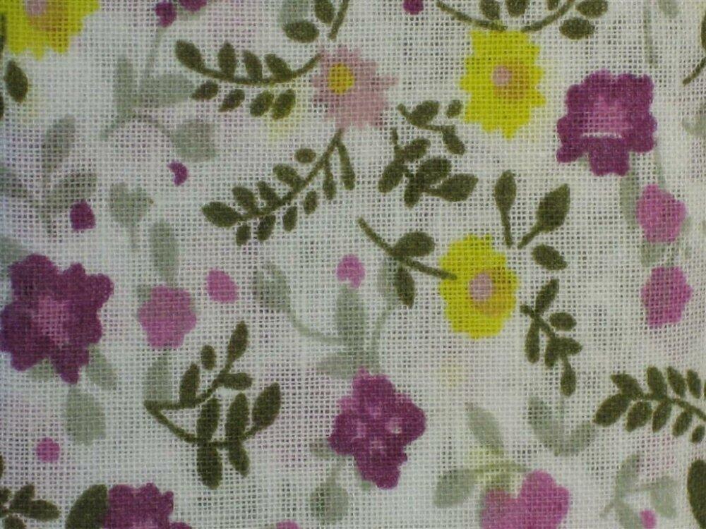 Coupon de tissus imprimé Liberty jaune et violet 55 x 45.5cm