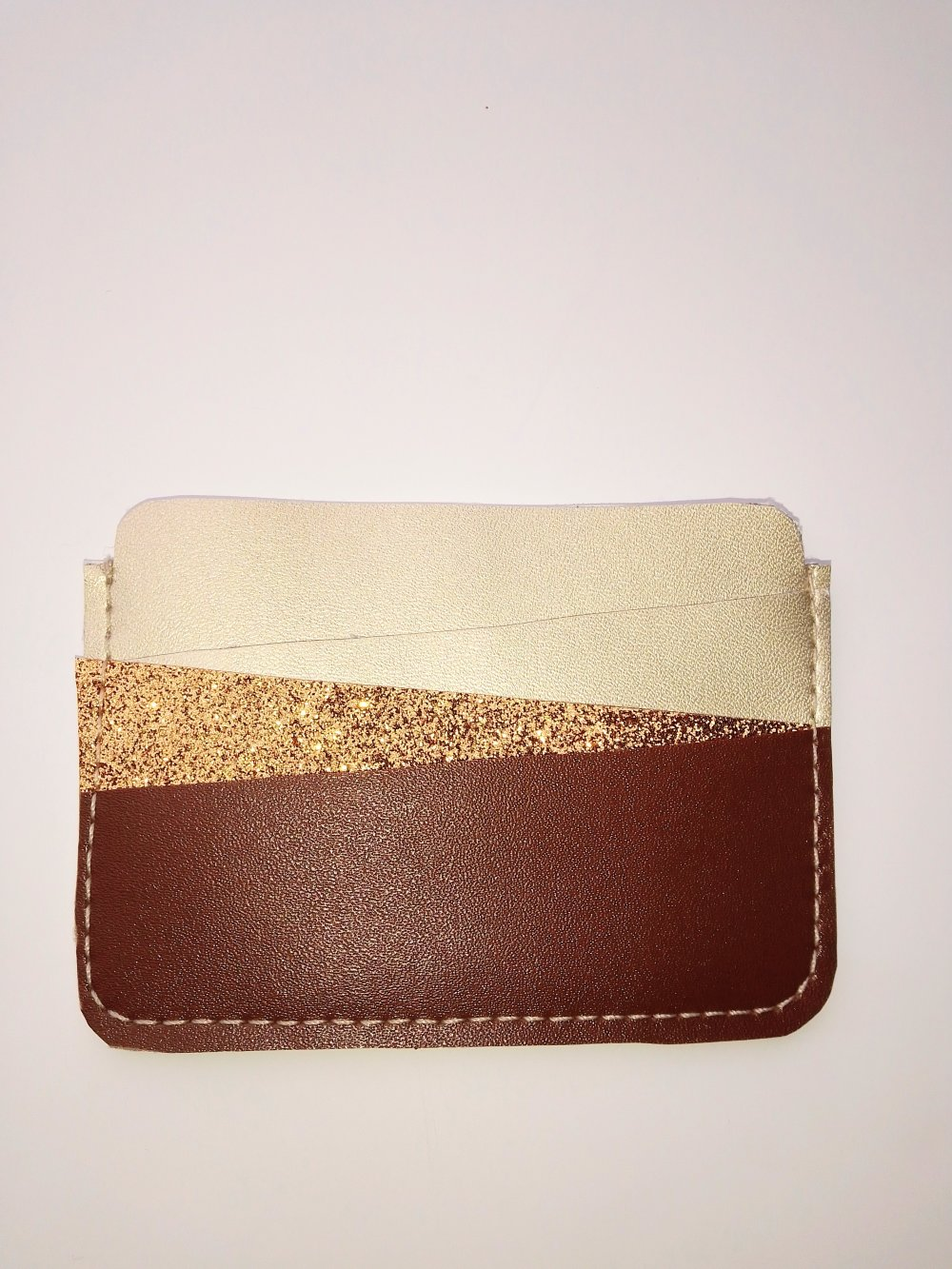 Porte-cartes simili cuir Doré