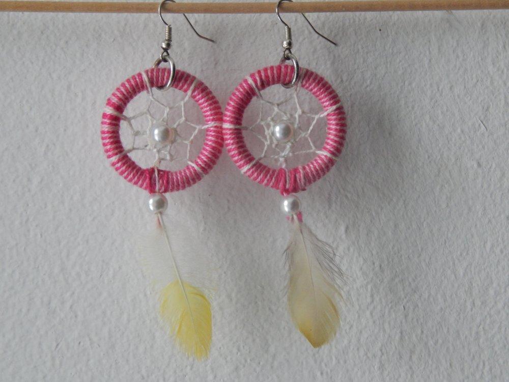 Boucles d'oreilles Attrape Rêves rose