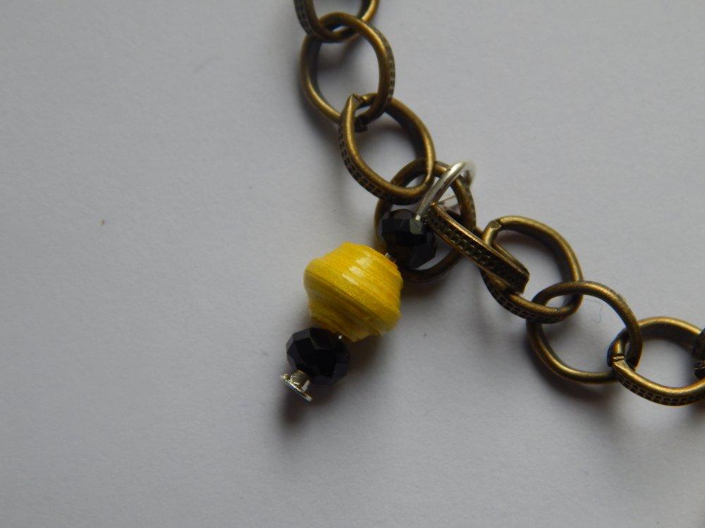 Bracelet Chaîne couleur Bronze, Perles en Papier