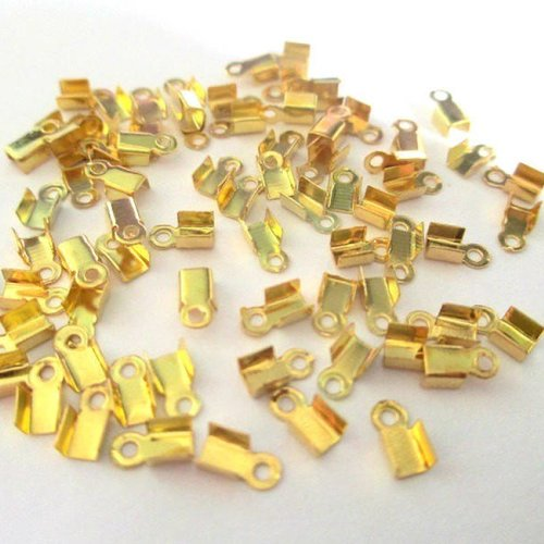 50 embouts cordons 6x3mm métal couleur doré