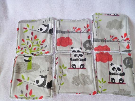 10 Lingettes lavables bébé Panda