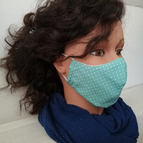 Masque de protection en tissu 100 % coton vert d'eau motif pois blancs, taille adulte, ado