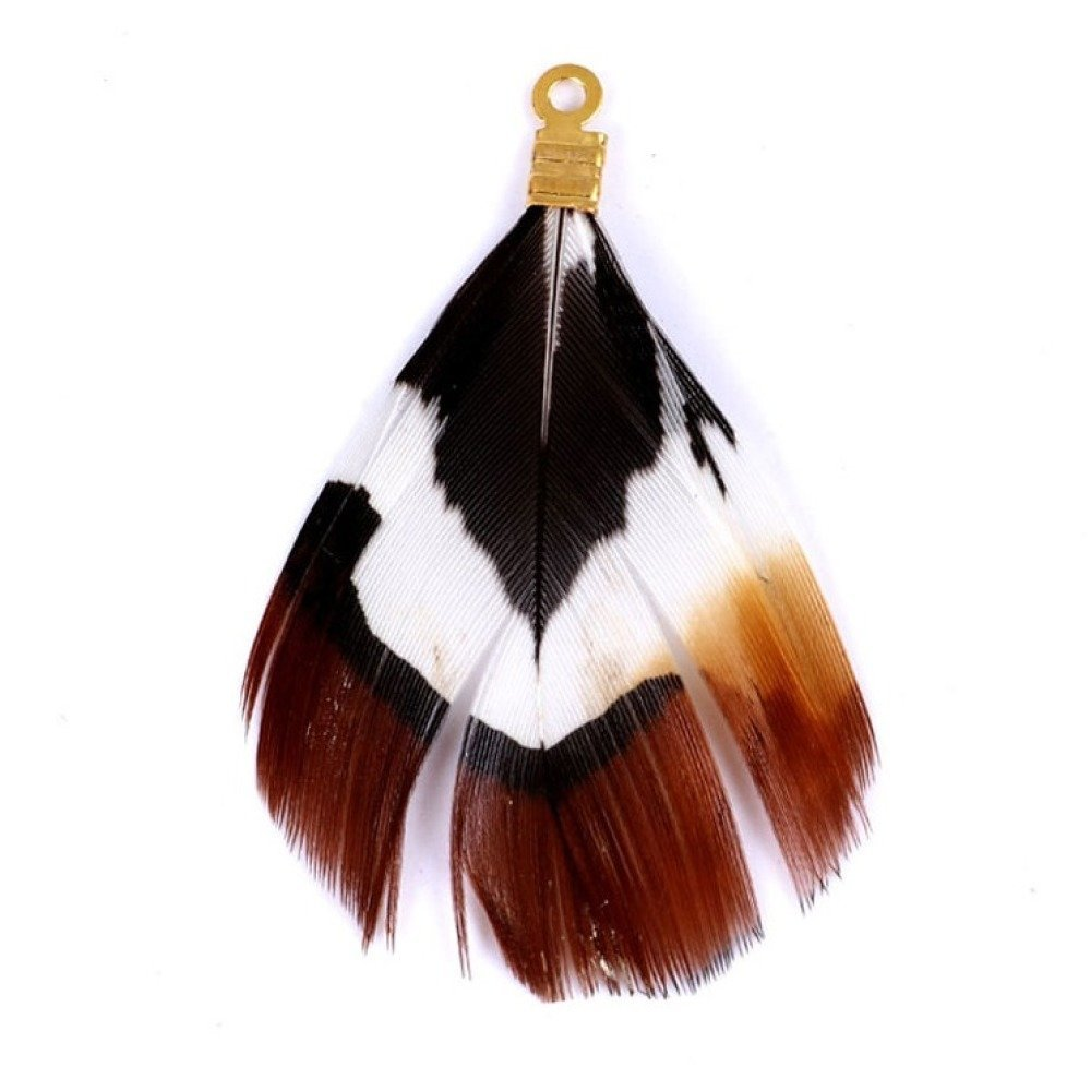 pendentif plume naturelle marron blanc