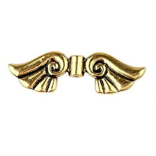 Perle aile ange métal doré