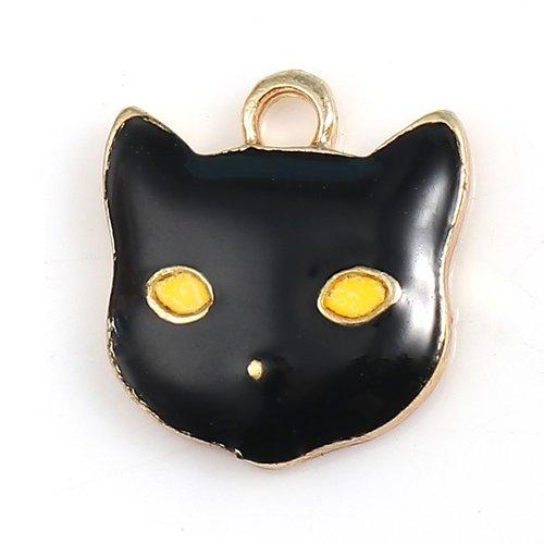 1 pendentif chat halloween doré et noir