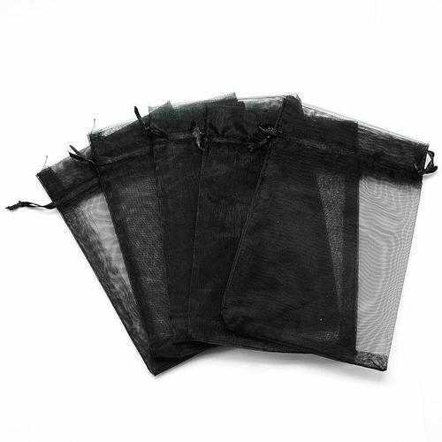5 pochettes cadeau organza noir 12 x 9 mm