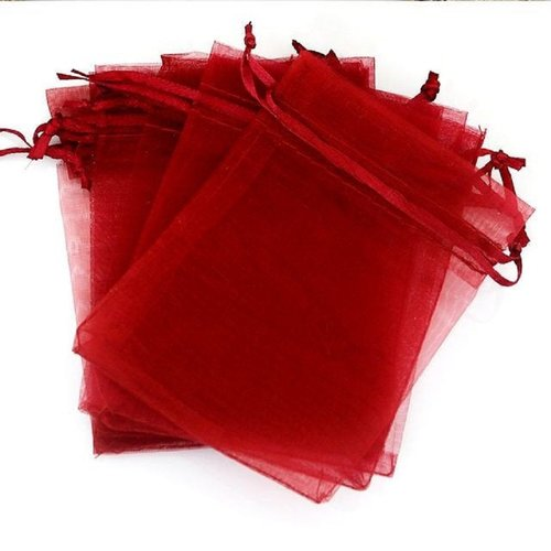 5 pochettes cadeau organza rouge 12 x 9 mm