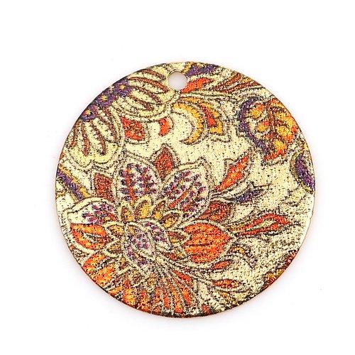 2 sequins pendentifs fleuris orange et doré