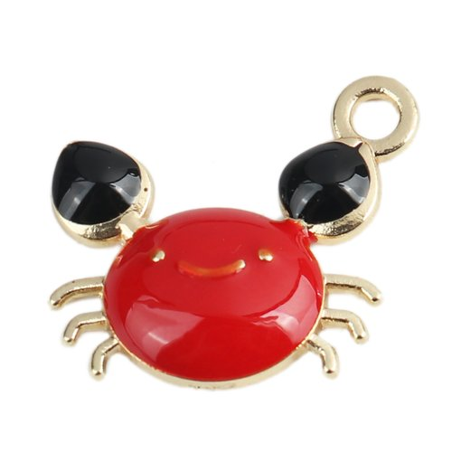 1 pendentif crabe marin métal doré émail rouge et noire