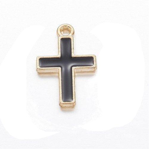 1 croix pendentifs métal doré émail noire