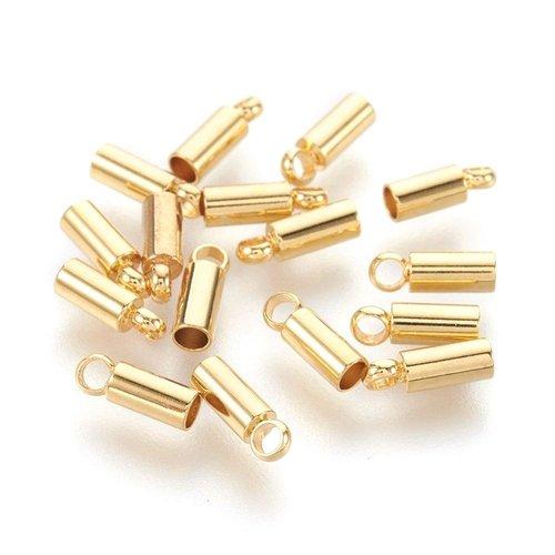 2 embouts cordon 2 mm acier inoxydable doré