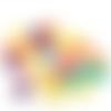 1 mot perles 10 mm acrylique jaune violette rose verte lettres argentées