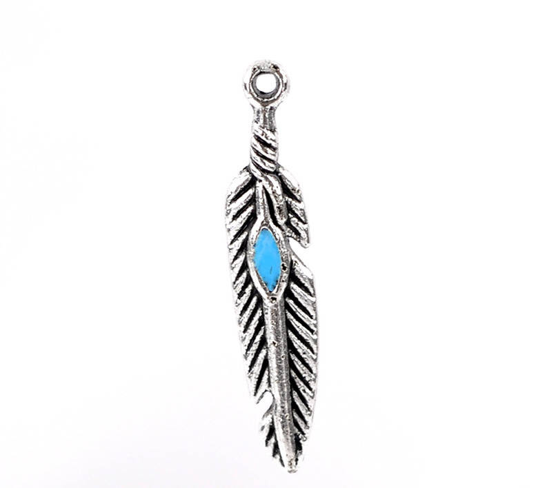 plumes x 6 breloques métal argenté