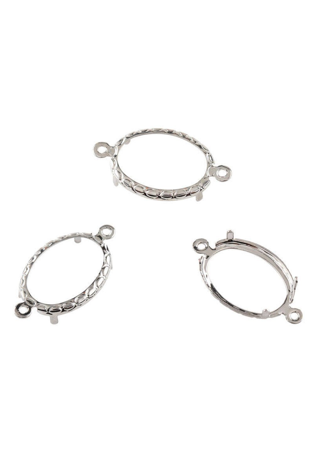 connecteurs supports cabochon 14 x 10 mm ovale métal argenté griffes x 2