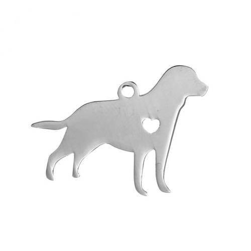 Pendentif chien breloque acier inoxydable.