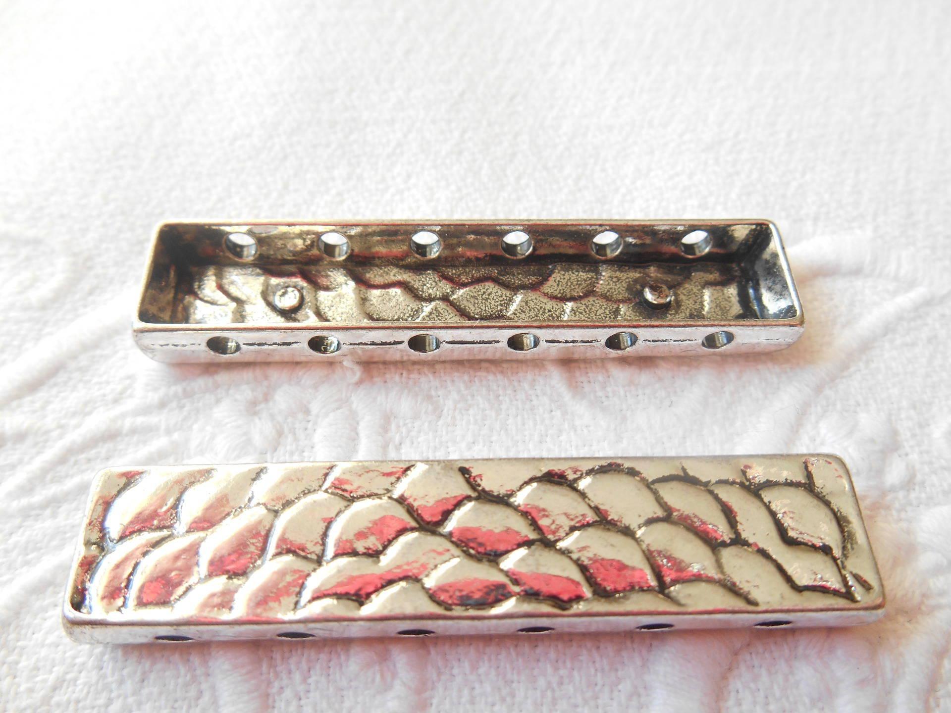 séparateurs x 2 connecteurs métal argenté martelé