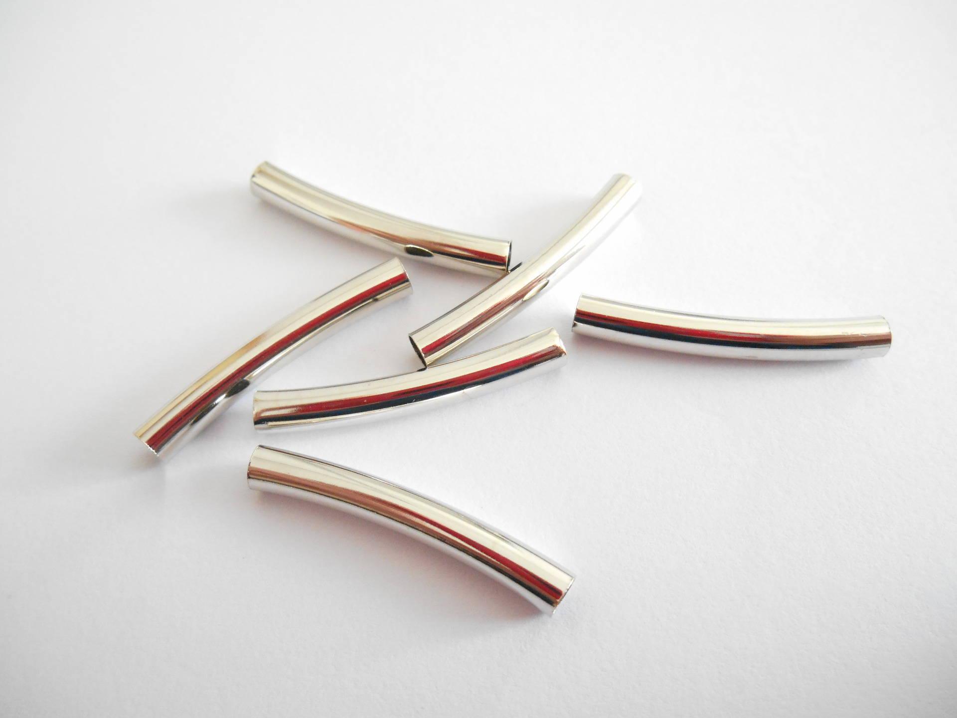 perles x 6 tubes courbés métal argenté 23 mm.