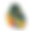 Pendentif poisson tropical vert orange bleu résine