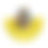 Pendentif pompon jaune goutte rocailles multicolores